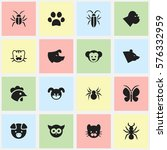 set of 16 editable animal icons....
