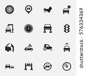 set of 16 editable car icons.... | Shutterstock . vector #576334369