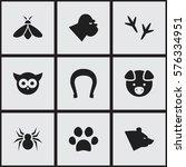 set of 9 editable zoo icons....
