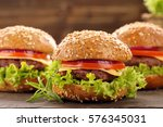 hamburger with beef meat and... | Shutterstock . vector #576345031
