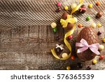 chocolate easter eggs with... | Shutterstock . vector #576365539
