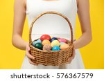 Girl With Easter Eggs On Color...