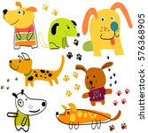 set of funny cartoon dogs.... | Shutterstock . vector #576368905