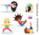 cute kids in different yoga...   Shutterstock .eps vector #576376594
