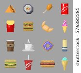 pixel art food icons vector... | Shutterstock .eps vector #576382285
