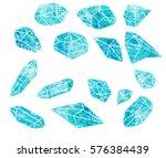 set crystals of watercolor.... | Shutterstock . vector #576384439