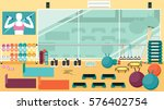 flat colorful gym running... | Shutterstock .eps vector #576402754