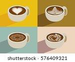 set of coffee latte art white... | Shutterstock .eps vector #576409321