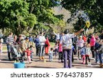 people spend time in hyde park... | Shutterstock . vector #576437857