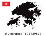 hong kong map and flag vector | Shutterstock .eps vector #576439639
