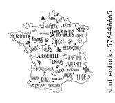 hand drawn map of france with... | Shutterstock .eps vector #576446665