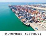 container cargo freight ship...   Shutterstock . vector #576448711