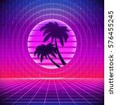 80s retro sci fi background... | Shutterstock .eps vector #576455245