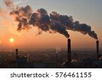 smoking smoke stacks in the city | Shutterstock . vector #576461155
