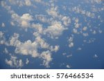 Small photo of Above the clouds. Looking down from the top flight