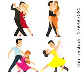 four couples dancing classical... | Shutterstock .eps vector #576467035