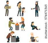 Homeless. Vector Cartoon...