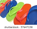 Vibrant Summer Flip Flop Sandal Background Close Up - stock photo