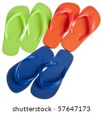 Vibrant Summer Flip Flop Sandal Background Isolated on White with a Clipping Path. - stock photo