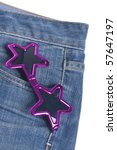 Star Shaped Summer Sunglasses in the Pocket of Denim Blue Jean Pants - stock photo