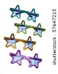 Star Shaped Summer Sunglasses Background or Border Image with Copy Space Isolated on White with a Clipping Path. - stock photo