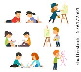 children drawing. vector... | Shutterstock .eps vector #576472501