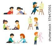 children drawing. vector... | Shutterstock .eps vector #576472501