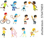 sports kids are actively... | Shutterstock .eps vector #576475855