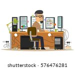 man working on the computer.... | Shutterstock .eps vector #576476281