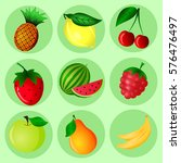 fruits and berries icons or... | Shutterstock .eps vector #576476497