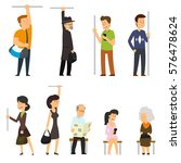 people go to the subway. vector ... | Shutterstock .eps vector #576478624