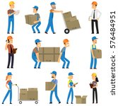 warehouse and delivery workers. ... | Shutterstock .eps vector #576484951