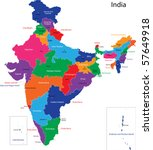 map of the republic of india... | Shutterstock . vector #57649918