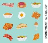 set of color breakfast food... | Shutterstock .eps vector #576503659