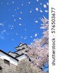 shirakawa komine castle and... | Shutterstock . vector #576503677