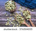 pumpkin dry green seeds in a... | Shutterstock . vector #576504055