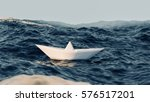 Paper Boat Sailing On Blue...