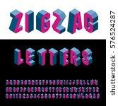 3d zig zag isometric blue and... | Shutterstock .eps vector #576524287