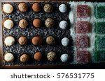 round chocolates with coconut...   Shutterstock . vector #576531775