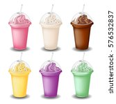 milk shake set on white... | Shutterstock .eps vector #576532837