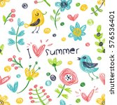 i love summer. cute pattern... | Shutterstock .eps vector #576536401