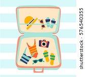 suitcase for travel illustration | Shutterstock .eps vector #576540355