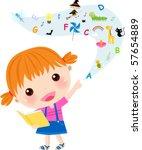 very cute little girl reading...   Shutterstock .eps vector #57654889
