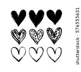 set of hand drawn hearts.... | Shutterstock .eps vector #576555631