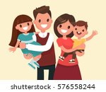 happy family. father  mother ... | Shutterstock .eps vector #576558244