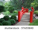 Japanese Garden Bridge In Red