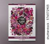 cartoon hand drawn doodles nail ... | Shutterstock .eps vector #576572905