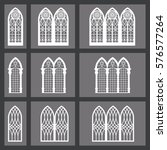 set of gothic windows isolated... | Shutterstock .eps vector #576577264
