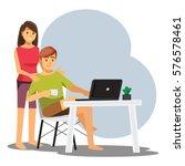 freelance developer or designer ... | Shutterstock .eps vector #576578461