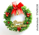 christmas wreath red green gold ... | Shutterstock . vector #57658138